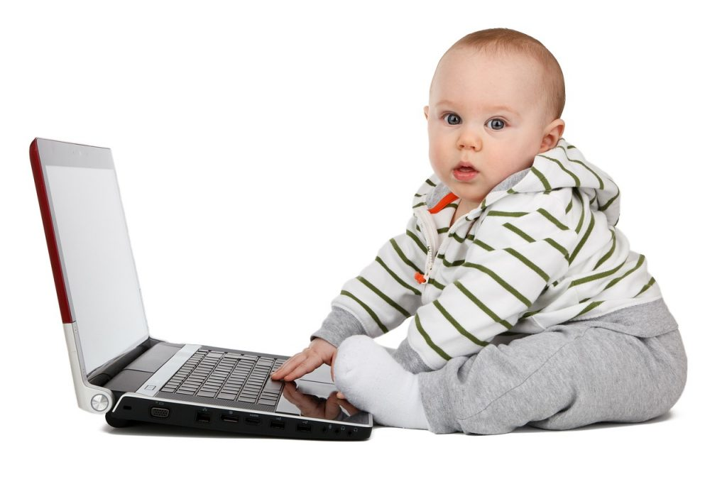 Concept Baby Computer Boy Childhood Child